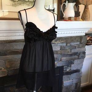 Black ruche details babydoll negligee